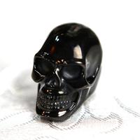 Bague acier crâne tête de mort big black skull gothique BGT11
