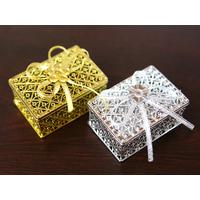 50 Boîtes à dragées métallisées rectangulaire mariage cérémonie BTD33