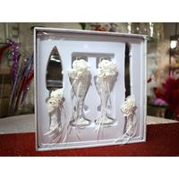 Couverts couteau pelle à gâteau avec verres mariage MAC1