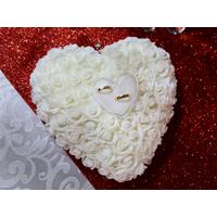 Coussin porte alliances forme cœur plat rigide mariage MCA3