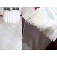 Nappe motif arabesque fleur table ronde blanc  mariage 280 cm MNP1