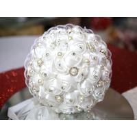 Bouquet de la mariée rose fait main blanc BQT6