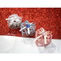 50 Boîtes à dragées coeur fil métal mariage BTD37