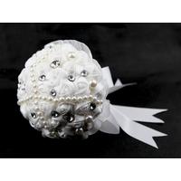 Bouquet de la mariée rose fait main blanc BQT7