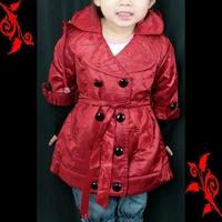 Veste trench coat fille trompe l'oeil 2 ans à 10 ans FVS1 rouge