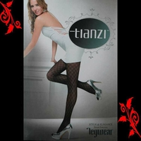 Lot de 2 collants noir fantaisie carreaux sexy 36 38 TU 8307