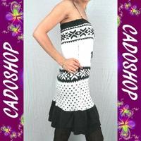 Pull robe bustier jacquard femme TU 36 38 40 VPR5 GRIS