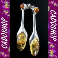 Boucles d'oreilles bo ambre argent fete des meres BOM11