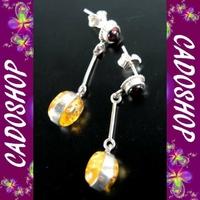 Boucles d'oreilles bo ambre argent fete des meres BOM7