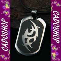 Collier pendentif tribal gothique acier mixte COS58