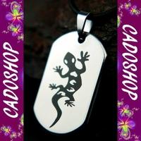 Collier pendentif lezard salamandre acier mixte COS57