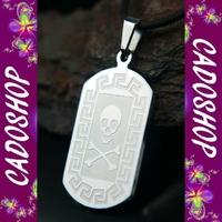 Collier pendentif tete de mort gothique acier COS60