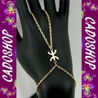Bracelet bague chaine de main Z KABYLE-BERBERE femme cl plaqué or BBA12 D