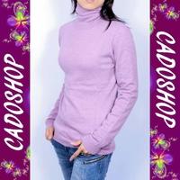 Pull femme cachemire laine col roule VPL1 LS11-003 ROSE PARME