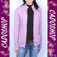 Gilet femme cachemire laine zippe VPL4 LS11-005 ROSE PARME