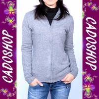 Gilet femme cachemire laine zippe VPL4 LS11-005 GRIS