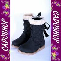 Chaussures bottes bebe fille enfant simili cuir fourre T 19 20 21 22 23 24 B913 NOIR