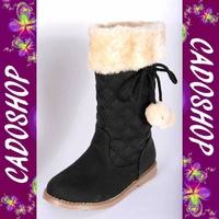 Chaussures bottes fille enfant simili cuir fourre hiver 25 26 27 28 29 30 B919 NOIR