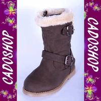 Chaussures bottes bebe fille enfant simili cuir fourre hiver 19 20 21 22 23 24 B902 MARRON