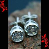Boucle d'oreille diamant cz homme cl plaque BO20 5mm