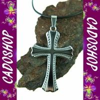 Collier homme pendentif Croix Christ Jesus acier neuf COS68