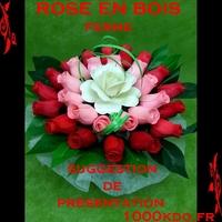 Roses en bois fleur en bois déco centre de table de mariage baptême cadeaux invités