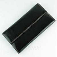 Compagnon de voyage portefeuille porte chéquier imitation cuir B6393 Noir
