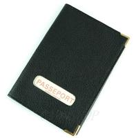 Étui protège porte passeport mixte en croûte cuir B7 Noir