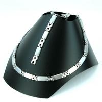 Parure acier collier bracelet maillon forme X PRS12
