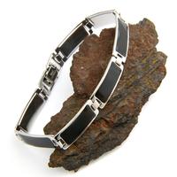 Bracelet acier homme femme plaquettes résine noire BRSJ6