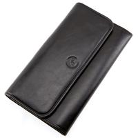 Compagnon portefeuille porte chéquier cuir vachette S5661 Noir