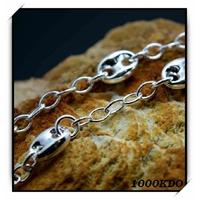 Bracelet Goumette Maille Grain De Café Argent BRA21