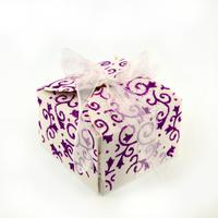 50 boîtes à dragées pour faire part mariage baptême motif floral BTC21 Paillette violet