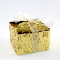 50 boîtes à dragées pour faire part mariage baptême motif floral BTC21 Doré