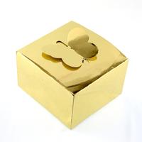 50 boîtes à gâteaux pour faire part mariage baptême motif papillon BTC9 Doré