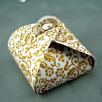 50 boîtes à gâteaux pour faire part mariage baptême motif floral BTC2 Paillette doré