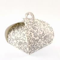 50 boîtes à gâteaux pour faire part mariage baptême motif floral BTC2 Paillette argenté