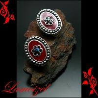 Boucles d'oreilles bo clip puce rouge bordeaux neuf BOC23