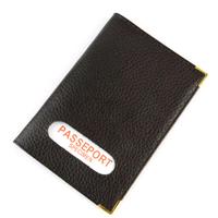 Étui protège porte passeport mixte en croûte cuir B7 Marron
