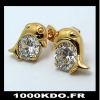 Boucles d'oreilles bo puce earring dauphin cl plaqué or neuf BO9
