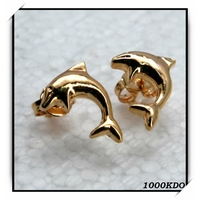 Boucles d'oreilles bo puce earring dauphin cl plaqué or neuf BO64