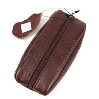 Porte-monnaie grain de café en cuir vachette B7317 Marron