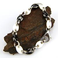 Bracelet acier céramique maille grain de café homme BRSM1 noir blanc 9mm