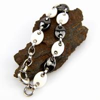 Bracelet acier céramique maille grain de café homme BRSM1 noir blanc 11mm