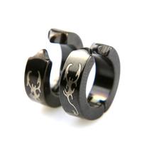 Fausse boucles d'oreilles créoles clip non percées motif scorpion BOSC5 Acier noir