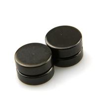 Boucles d'oreilles acier faux écarteur non percées aimant magnétique BOF24 Noir 8mm