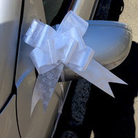 Lot 10 nœuds papillon automatiques pour décoration voiture mariage DNM1 Blanc