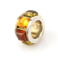 Pendentif anneau argent ambre véritable PAM38 Multicolore