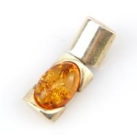 Pendentif argent ambre véritable PAM116 Cognac