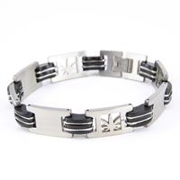 Bracelet acier homme motif feuille de cannabis BRSX6